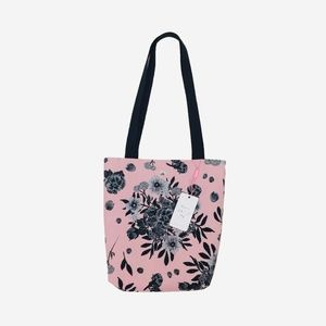 DaJazzy Black Flowers Pink Peach Simple Small Tote